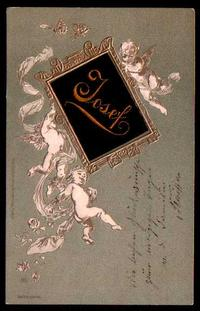 Embroidery embossing greeting card, Gold, Angel, DR No.68 Cologne-Nippes