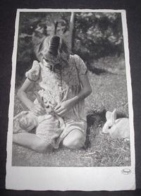 Photo Card, Girl with rabbits, ca.1940